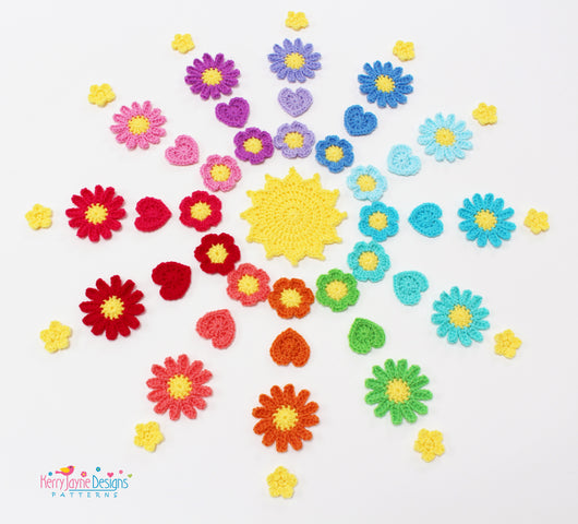 Crochet Flower applique patterns