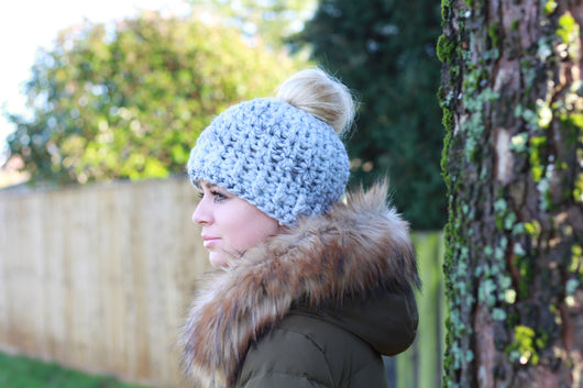 Fun Bun Beanie Crochet Pattern UK – Kerry Jayne Designs e0ee932b6ee3