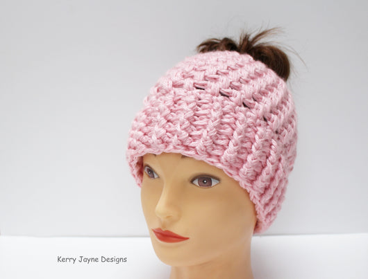 ... Woman s crochet hat pattern  Kerry Jayne Designs  Messy bun hat  Crochet  hat pattern ... fdc13fc5a495