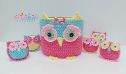 Owl basket and crochet toys
