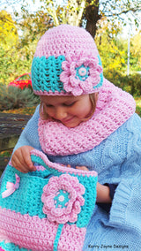 Crochet Hat Cowl and Bag pattern