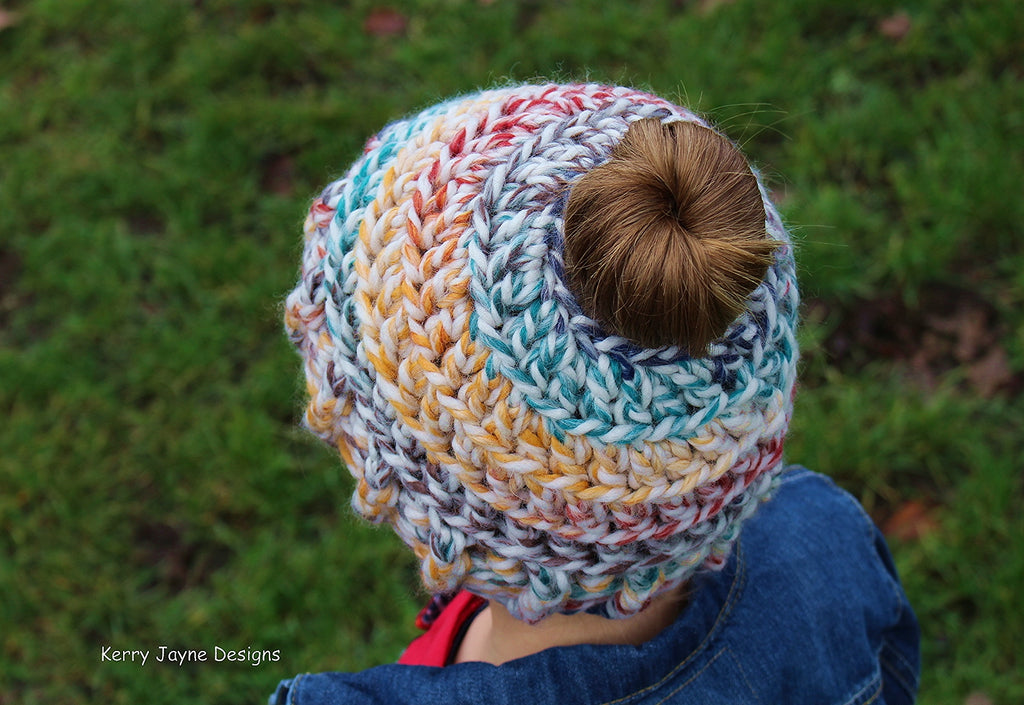 My Messy Bun Hat Crochet Pattern UK – Kerry Jayne Designs 09739005cc21