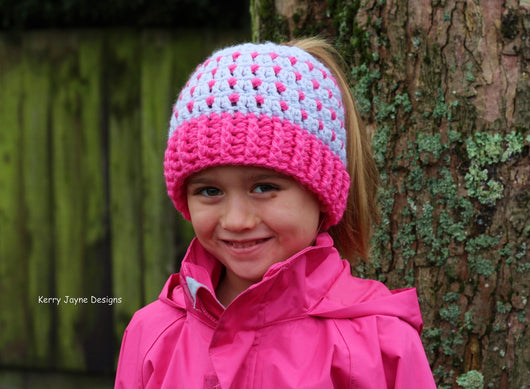 My Ponytail Beanie Crochet Pattern USA – Kerry Jayne Designs 34b9706e7757