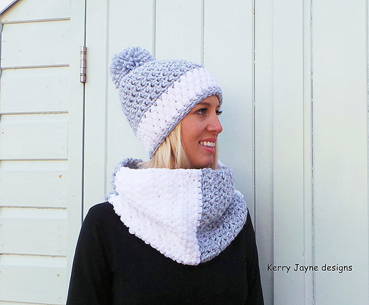 Nordic Snow Hat and Cowl Crochet Pattern USA – Kerry Jayne Designs