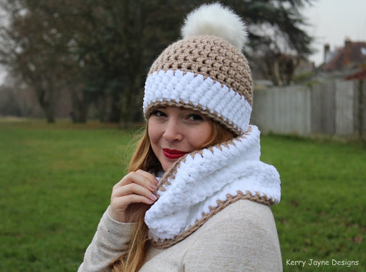 Nordic snow hat crochet pattern