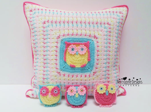 Owl crochet pillow pattern