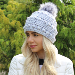 Bobble stitch crochet hat pattern