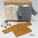 Puff stitch baby cardigan crochet pattern