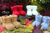 Puff stitch baby booties pattern