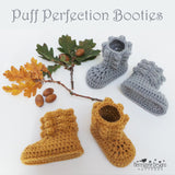 Puff stitch baby booties crochet pattern