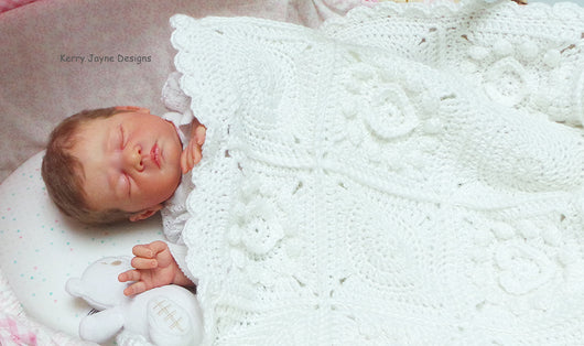 Lovely White crochet baby blanket