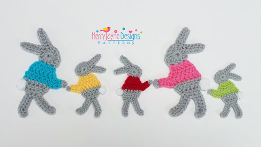 Bunny Family Applique Pattern UK