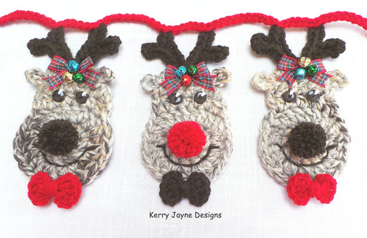 Reindeer bunting Crochet Pattern UK