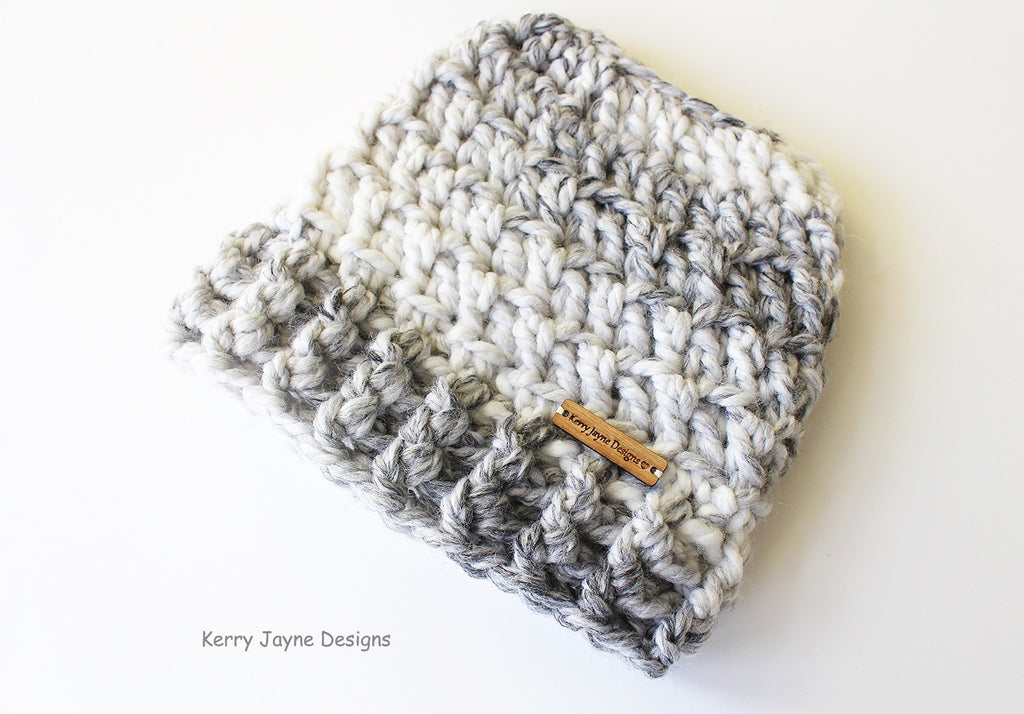 Snow Storm Messy Bun hat crochet pattern – Kerry Jayne Designs ca56b762bbaf