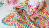 Colourful Granny square blanket pattern