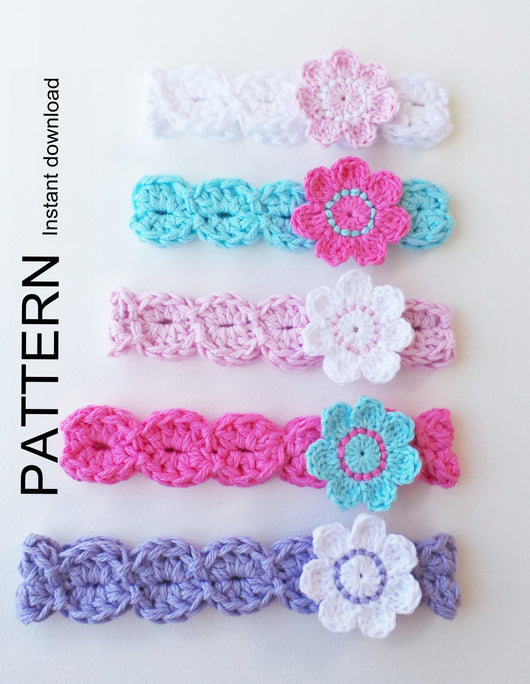 Flower Headband Crochet Pattern Usa Kerry Jayne Designs