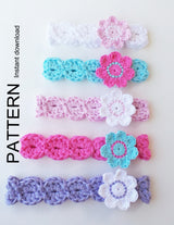 Flower headband crochet pattern