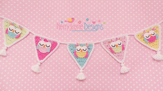 Sleepy Owl Bunting Crochet Pattern USA