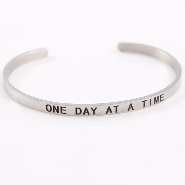 One Day at a Time - 4mm Mantra Bracelet