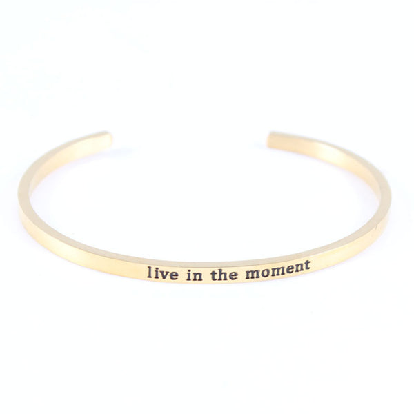 Live in The Moment - Mantra Bracelet