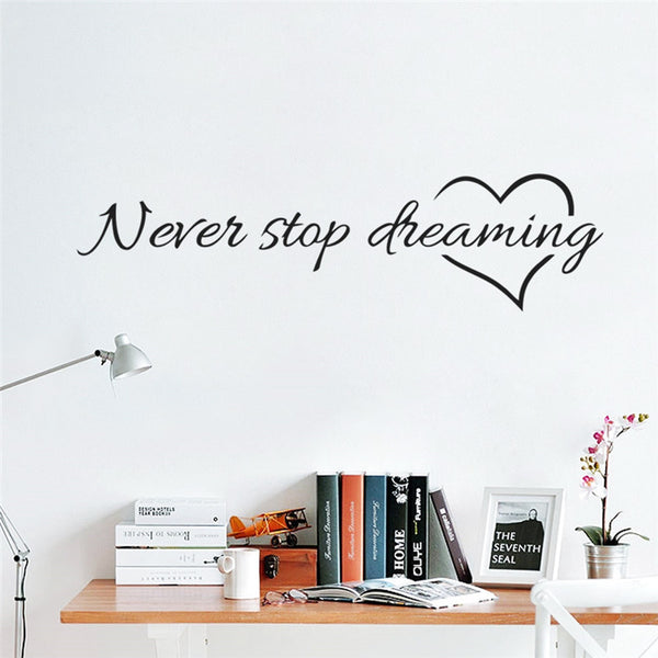 Never Stop Dreaming Wall Decal / Bedroom Wall Sticker / Dreaming Decor