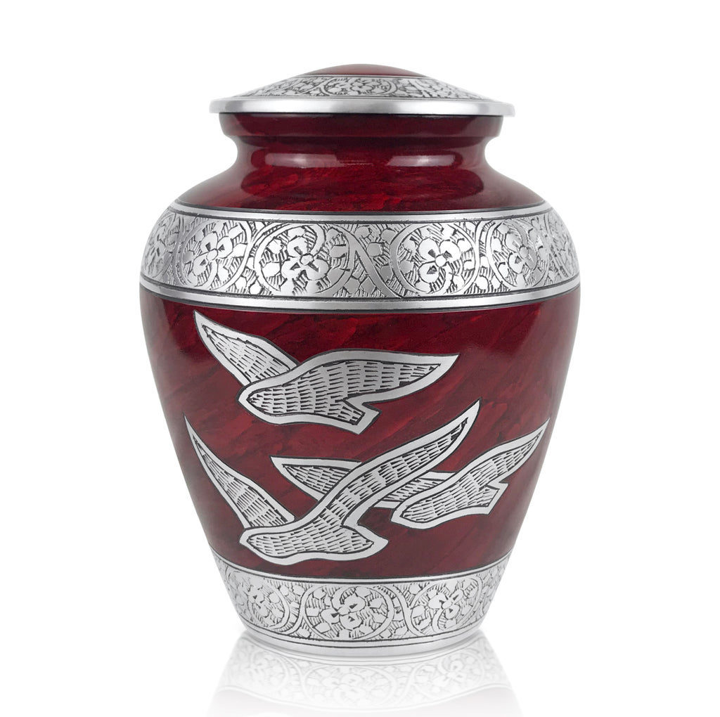 Royal Wings Of Freedom Cremation Urn for Human Ashes  - (Red)