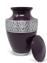 SmartChoice Handcrafted Glossy Purple Cremation Urn for Human Ashes with red Velvet Bag- Adult Urn …