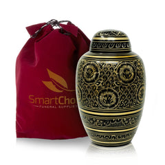 Cremation Urn for Human Ashes Elegant Black and gold  (Adult)