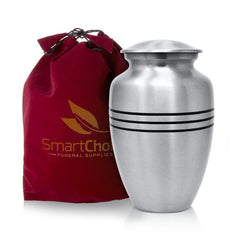SmartChoice Classic Silver Urn with 3 Lines design