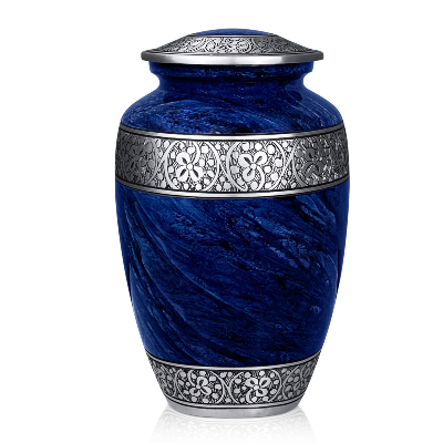 Cremation Urns for Human Ashes Adult Handcrafted Funeral Memorial Ashes Urn (Classic Blue)