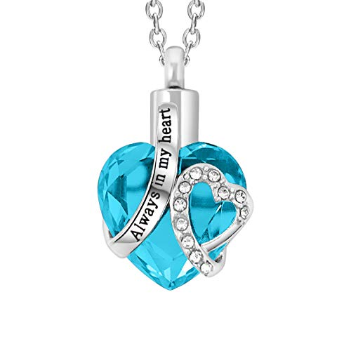 "Cremation Urn Necklace for Ashes ""With Beautiful Gift Box"" Urn Pendant Cremation Jewelry (Blue)"