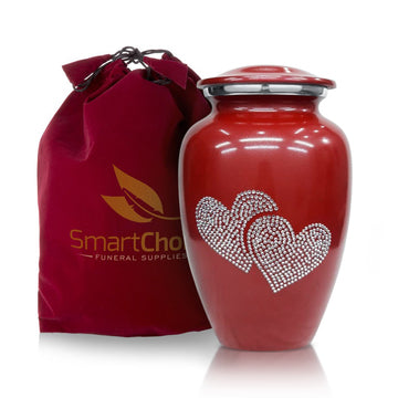 Crystal love heart Red Cremation urn