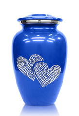 Crystal love heart blue Cremation urn