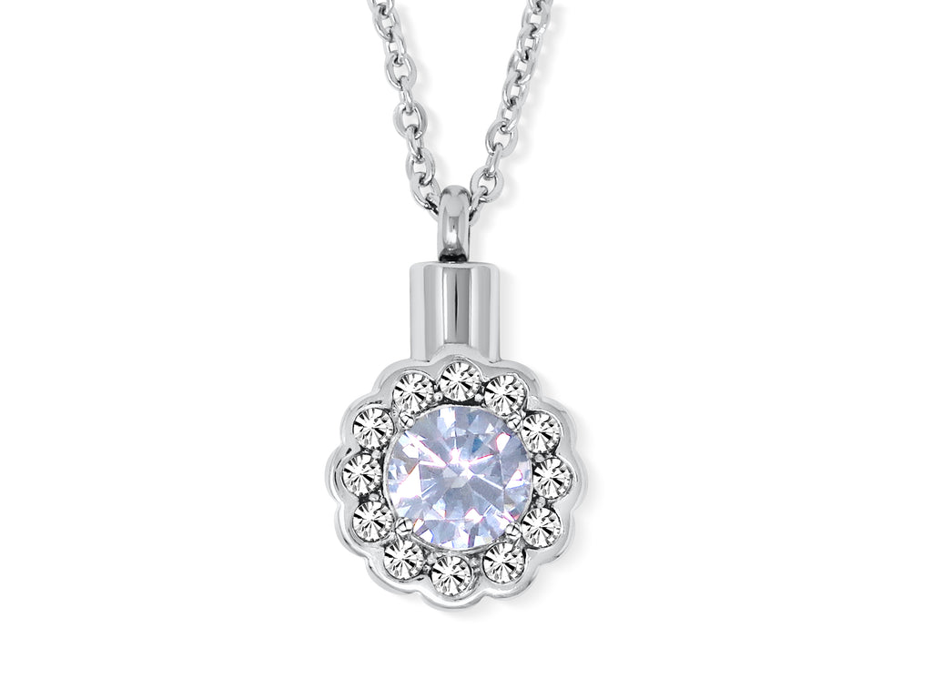 Cremation Urn Flower Necklace for Ashes With Beautiful Gift Box (Crystal)