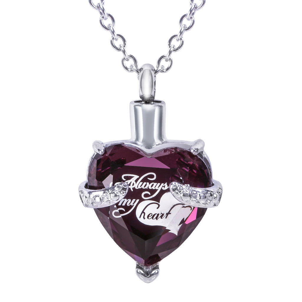 "Cremation Urn Necklace for Ashes ""With Beautiful Gift Box"" Urn Pendant Cremation Jewelry (Purple)"