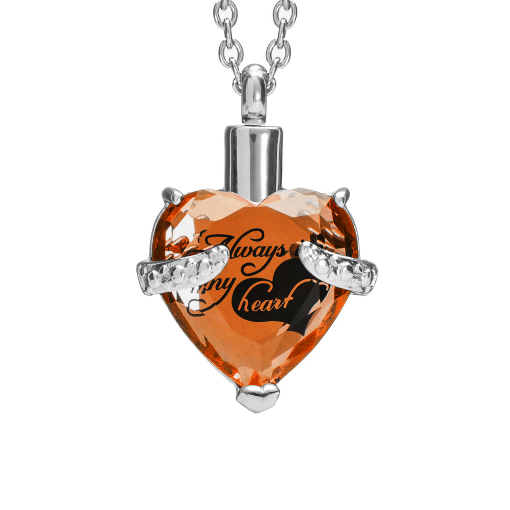 "Cremation Urn Necklace for Ashes ""With Beautiful Gift Box"" Urn Pendant Cremation Jewelry (Orange)"