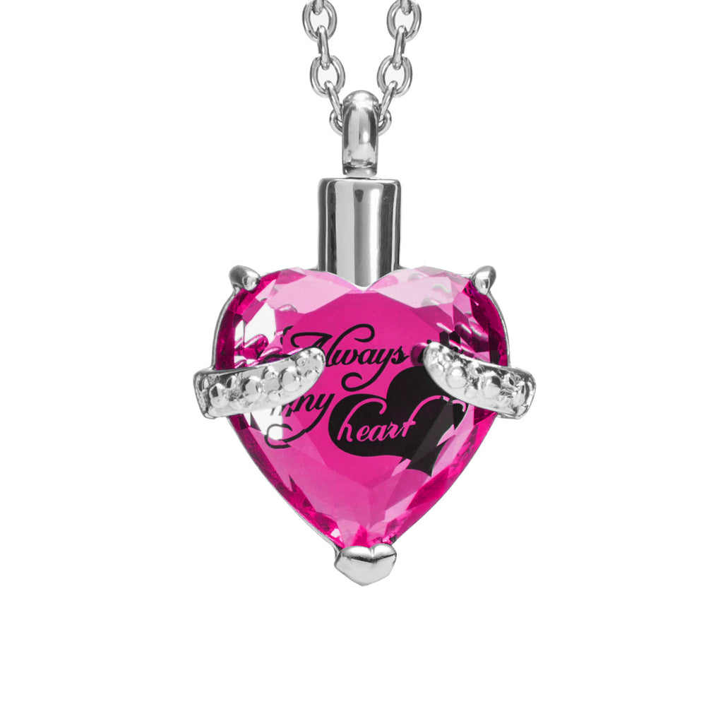 "Cremation Urn Necklace for Ashes ""With Beautiful Gift Box"" Urn Pendant Cremation Jewelry (Pink)"