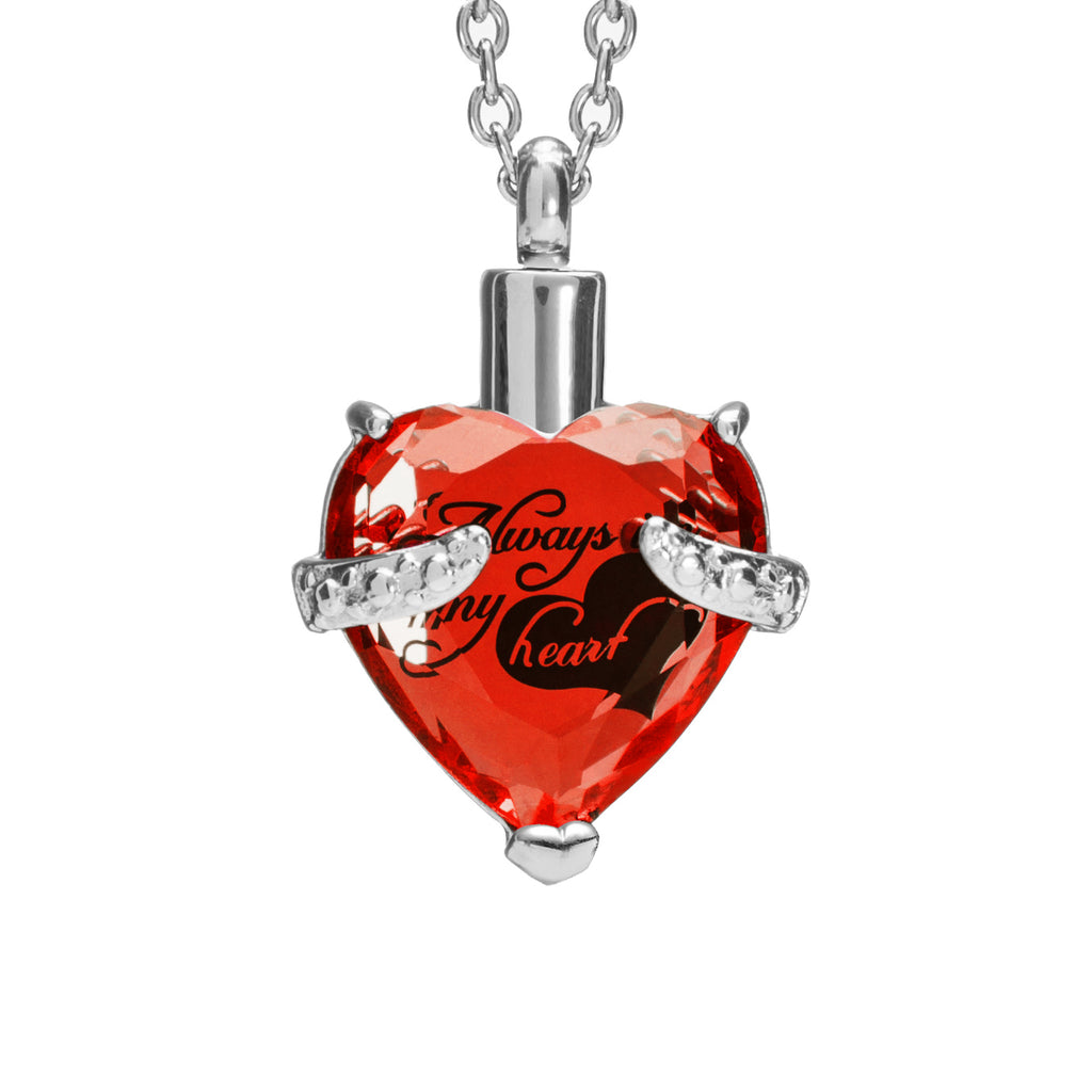 "Cremation Urn Necklace for Ashes ""With Beautiful Gift Box"" Urn Pendant Cremation Jewelry (Red)"
