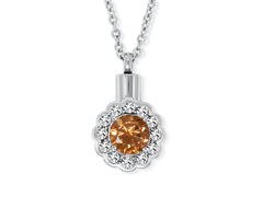Cremation Urn Flower Necklace for Ashes With Beautiful Gift Box (Orange)