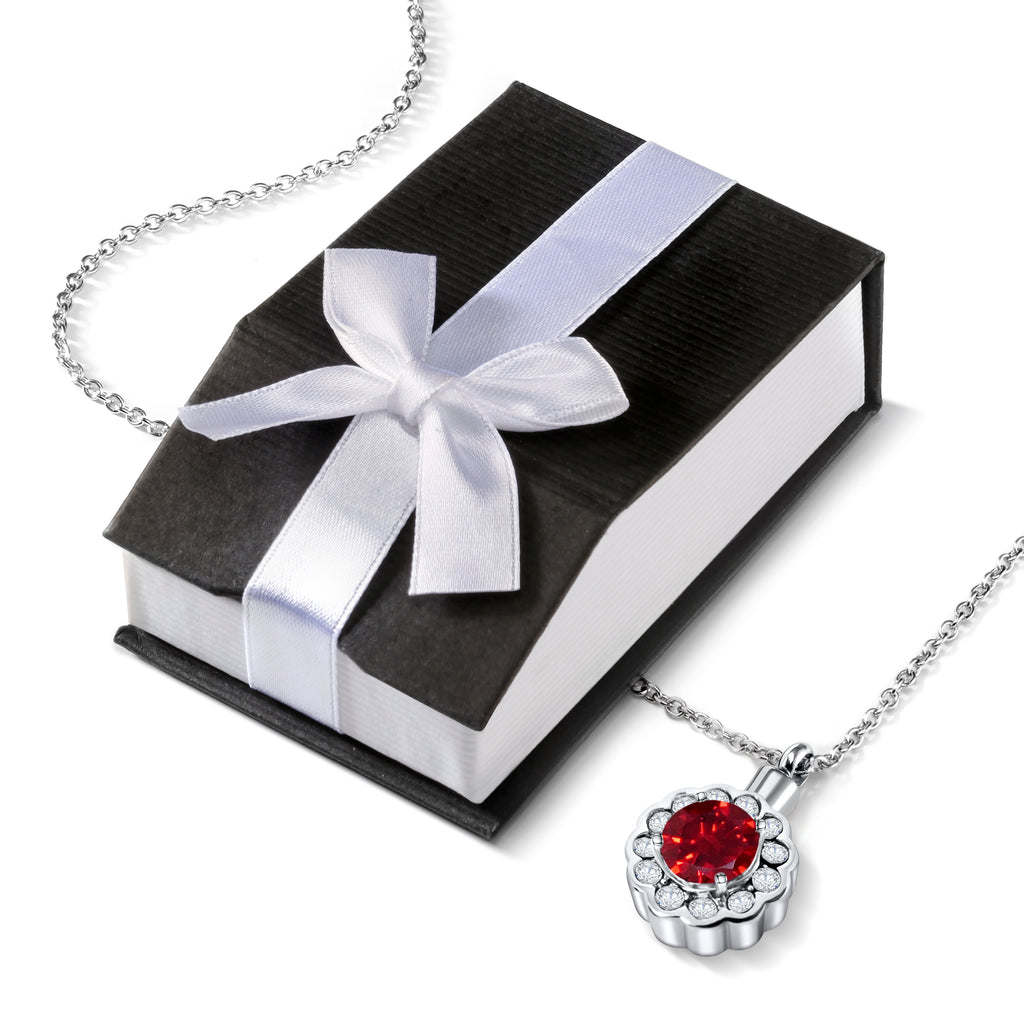 Cremation Urn Necklace for Ashes With Beautiful Gift Box (Red)