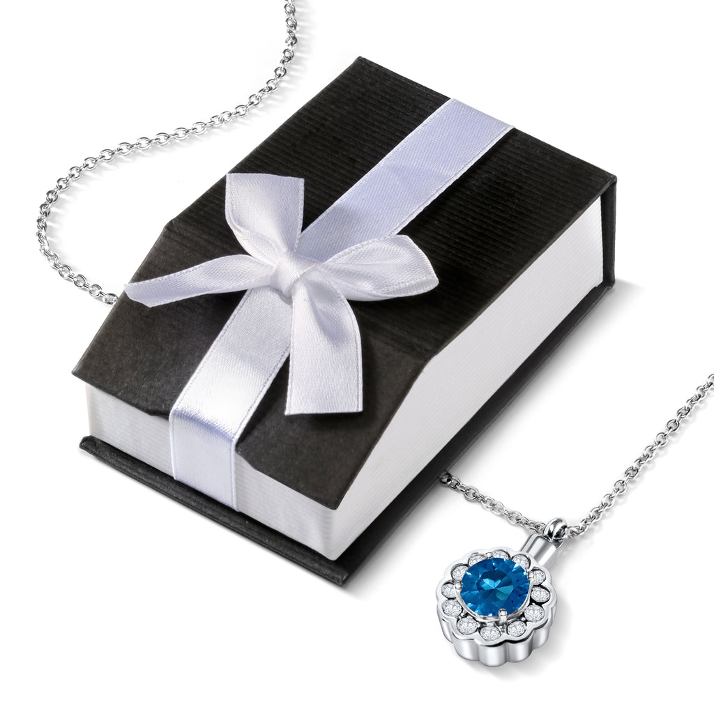 Cremation Urn Necklace for Ashes With Beautiful Gift Box (Blue)