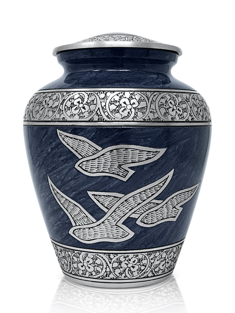 Cremation Urn for Human Ashes (Adult) - Memorial Funeral Vase with Secure Lid - Handcrafted Large Metal Urn