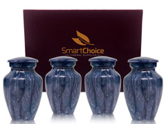 SmartChoice Keepsake urns Set of 4 - Color Marbleized Blue