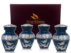 SmartChoice Keepsake urns Set of 4 - Color Royel With Doves Blue