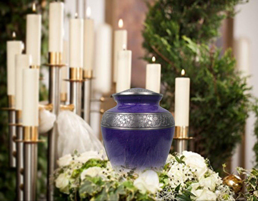 Cremation Urn for Human Ashes – Handcrafted Funeral Memorial Urn in Elegant Royal Purple (Adult)