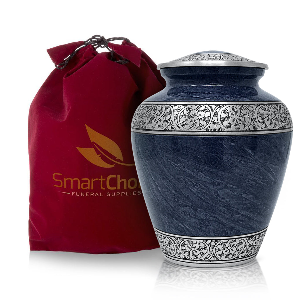 Cremation Urn for Human Ashes – Handcrafted Funeral Memorial Urn in Elegant Royal Blue (Adult)