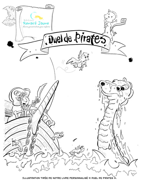 "dessin à colorier ""Duel de pirates"""