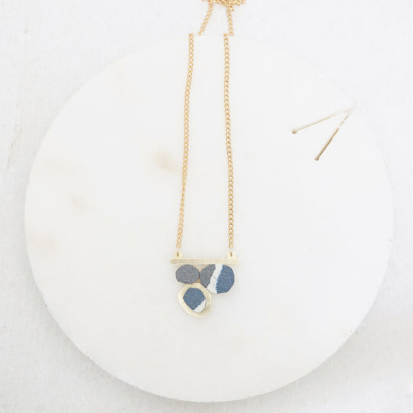 Brass and jesmonite delicate geometric necklace