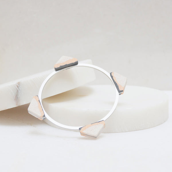 Statement steel and jesmonite stone bangle