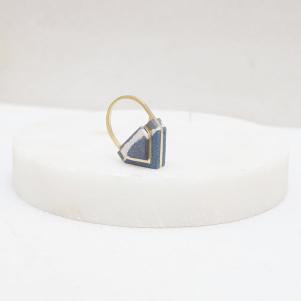 Brass and jesmonite stone statement pointed ring